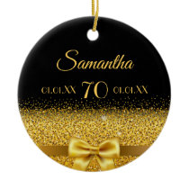 70th birthday with a chic golden bow on black ceramic ornament
