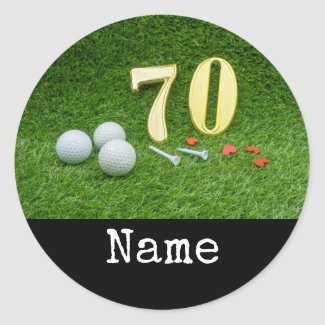70th Birthday with golf ball and tee on green Classic Round Sticker