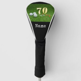 70th Birthday with golf ball and tee on green Golf Head Cover