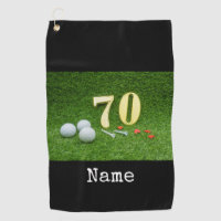 70th Birthday with golf ball and tee on green Golf Towel
