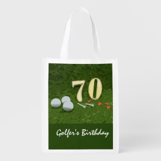 70th Birthday with golf ball and tee on green Grocery Bag