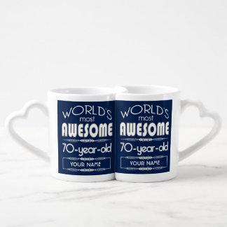 70th Birthday Worlds Best Fabulous Dark Blue Coffee Mug Set