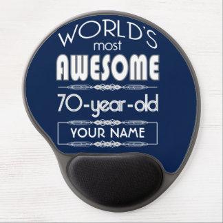 70th Birthday Worlds Best Fabulous Dark Blue Gel Mouse Pad