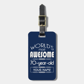 70th Birthday Worlds Best Fabulous Dark Blue Tags For Bags