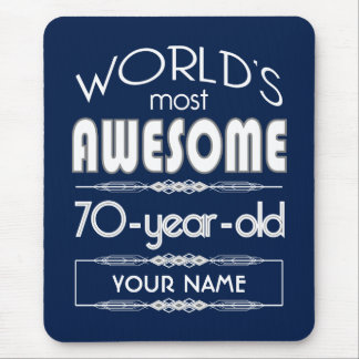 70th Birthday Worlds Best Fabulous Dark Blue Mouse Pad