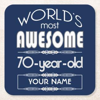 70th Birthday Worlds Best Fabulous Dark Blue Square Paper Coaster