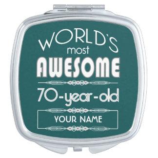 70th Birthday Worlds Best Fabulous Dark Green Compact Mirror