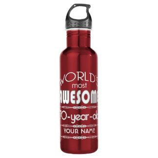 70th Birthday Worlds Best Fabulous Dark Red Water Bottle