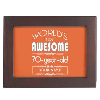70th Birthday Worlds Best Fabulous Flame Orange Keepsake Box