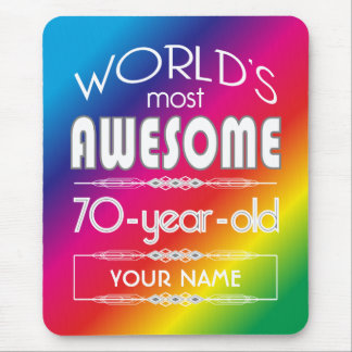 70th Birthday Worlds Best Fabulous Rainbow Mouse Pad
