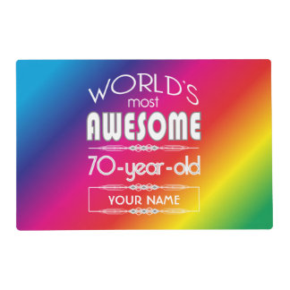 70th Birthday Worlds Best Fabulous Rainbow Placemat
