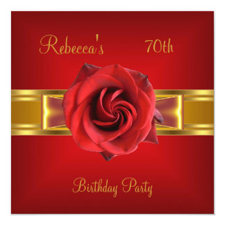 70th Colorful Royal Red Flower Yellow Gold Bow Card