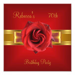 70th Colorful Royal Red Flower Yellow Gold Bow Personalized Invitations