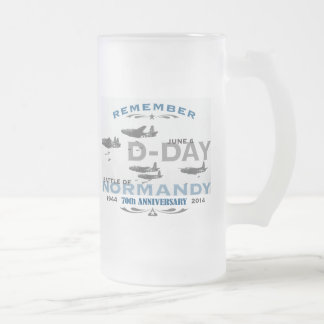 70th D-Day Air Battle of Normandy Anniversary 16 Oz Frosted Glass Beer Mug