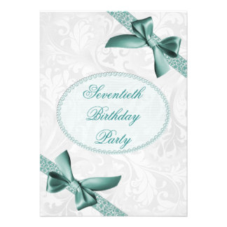 70th Damask and Bows Birthday Party Announcements