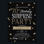"""70th Glitter Confetti Surprise Party Invitation<br><div class=""""desc"""">This chic and stylish 70th Birthday Surprise Party invitation features an elegant faux rose gold glitter confetti theme with modern typography. Customize background color to match event theme color. For an even more memorable invitation select a die-cut shape, textured paper or a double thick paper. For a custom birthday year,...</div>"""