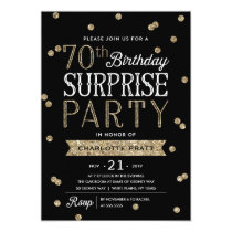 70th Glitter Confetti Surprise Party Invitation