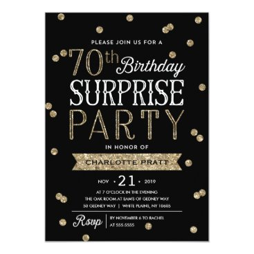 NBpaperco 70th Glitter Confetti Surprise Party Invitation
