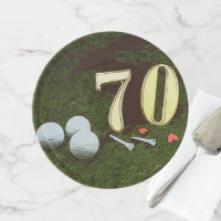 70th Golf birthday Par Tee Paper Plate with golf