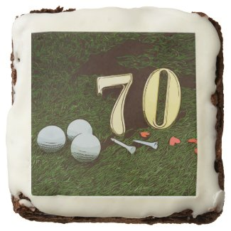 70th Golf birthday Par Tee Paper Plate with golf Brownie