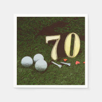 70th Golf birthday Par Tee Paper Plate with golf Napkin