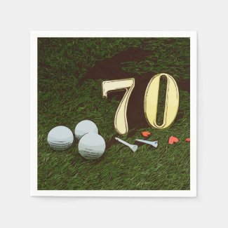 70th Golf birthday Par Tee Paper Plate with golf Napkins