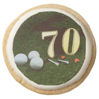 70th Golf birthday Par Tee Paper Plate with golf Round Shortbread Cookie