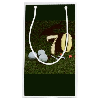 70th Golf birthday Par Tee Paper Plate with golf Small Gift Bag