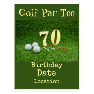 70th Golf birthday Par Tee party Invitation Postcard