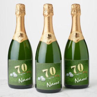 70th Golf birthday Par Tee  with golf Champagne Label
