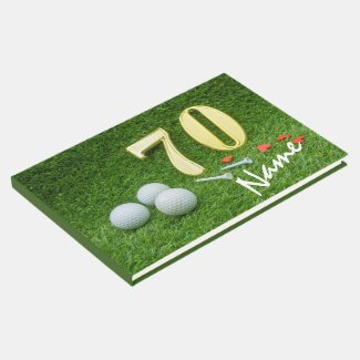 70th Golf birthday Par Tee with golf Guest Book