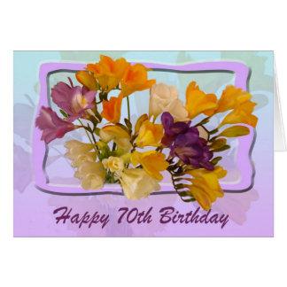70th Happy Birthday Card - Freesias