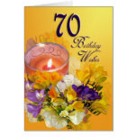 70th Happy Birthday Card - freesias and candle