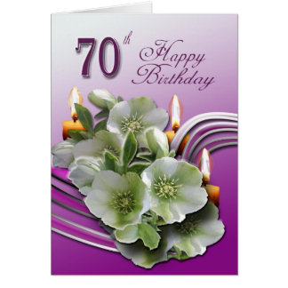 70th Happy Birthday Card - Hellebores and candles