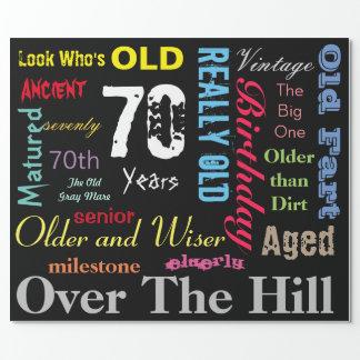 70th Happy Birthday Subway Art   Milestone Wrapping Paper