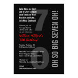 70th Modern Birthday Black Red SEVEN OH! W816 5x7 Paper Invitation Card