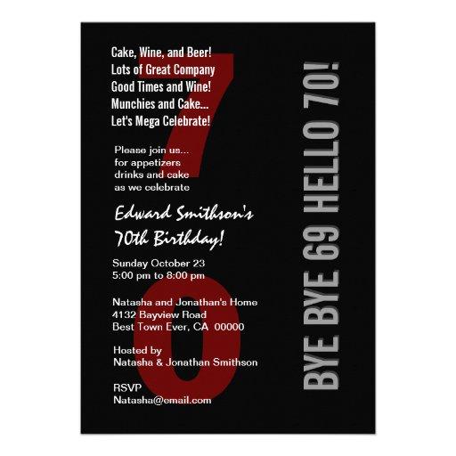 70th Modern Birthday Black Silver White Red W1789 Invites