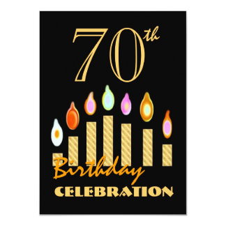 70th or Any Year Birthday Gold Candles Budget C08 Card
