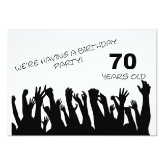"""70th party invitation with cheering crowds 5"""" x 7"""" invitation card"""