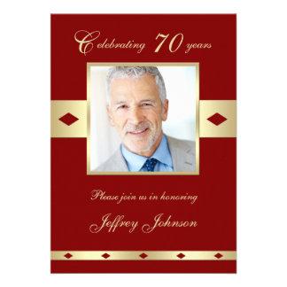 70th Photo Birthday Party Invitation - Burgundy 70 Invitations