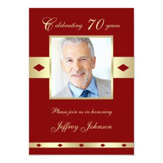 70th Photo Birthday Party Invitation Burgundy 70