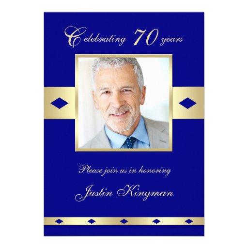 70th Photo Birthday Party Invitation - Navy 70