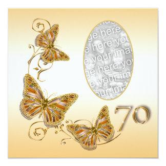 70th seventieth birthday autumn photo invitation