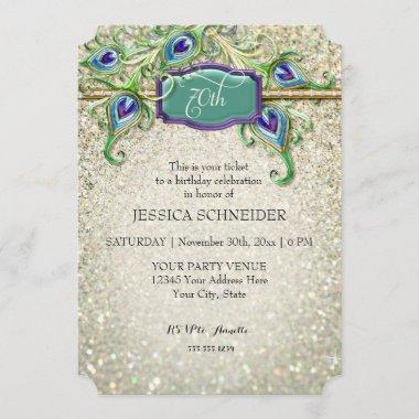 70th Seventieth Birthday Party Peacock Feather Invitation