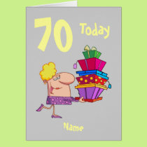 70th seventy today birthday cartoon  personalized card