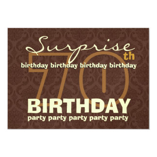 70th SUPRISE Birthday Chocolate and Gold G202 Card