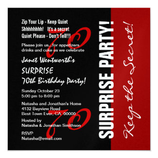 70th SURPRISE Birthday Black Red Metallic Paper Card