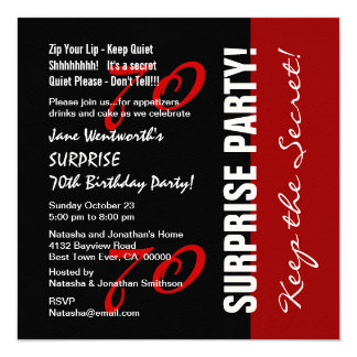 70th SURPRISE Birthday Black Red White Felt Paper Card