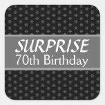 70th SURPRISE Birthday Black Silver Red Square Sticker