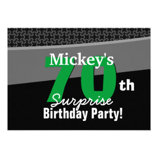 70th Surprise Birthday Black White Green 001 Custom Announcement